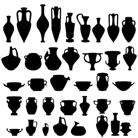 Antike Keramik, Vektor Silhouetten