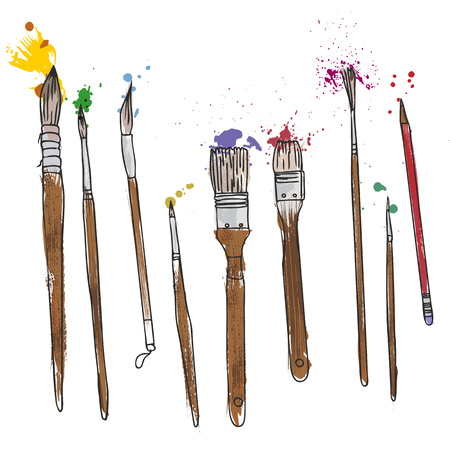 stationery, art materials, set of paint brushes