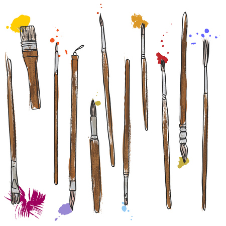 pictorial art: stationery, art materials, set of paint brushes