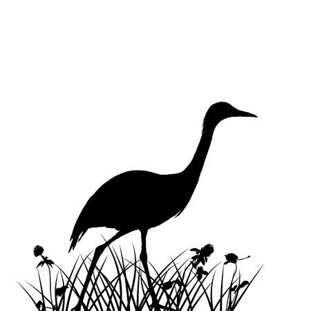 草のシルエットの鳥。  イラスト・ベクター素材