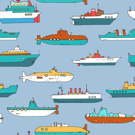 vector seamless pattern with submarines and ships
