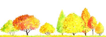 Aquarell Herbst Landschaft mit Laubbäumen, Sträuchern und Gras, abstrakte Natur Hintergrund, Wald Vorlage, gelb und rot Laub und Pflanzen, Hand gezeichnet Illustration Standard-Bild - 82766293