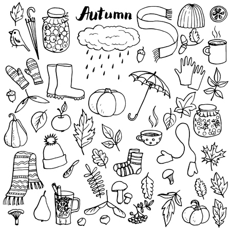 autumn doodle set