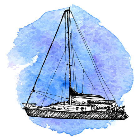 vector sketch of yacht at blue watercolor background, hand drawn illustration