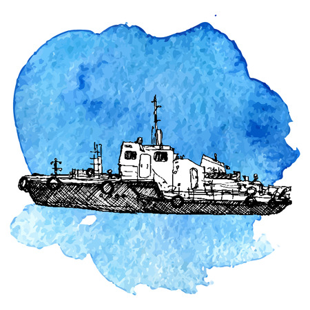 vector sketch of ship at blue watercolor background, hand drawn illustration