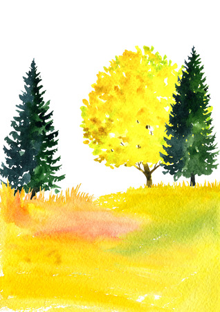 watercolor landscape with trees Stock Photo