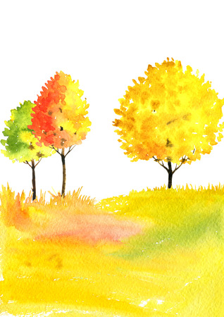 watercolor autumn landscape with trees Stock Photo