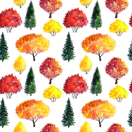 seamless pattern with watercolor autumn red trees and green firs, abstract nature background, forest template, hand drawn illustration Stock Photo