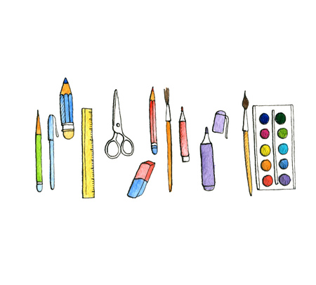school doodle set, stationery, pens and pencils, hand drawn isolated watercolor elements Stock Photo - 84289252