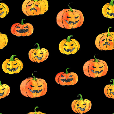 seamless pattern with watercolor halloween pumpkins