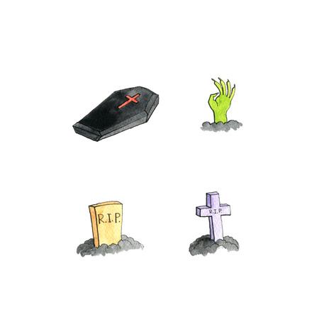 grave stone: halloween doodle set