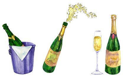 aquarel set champagne, flessen, plons en glazen, hand getrokken illustratie Stockfoto