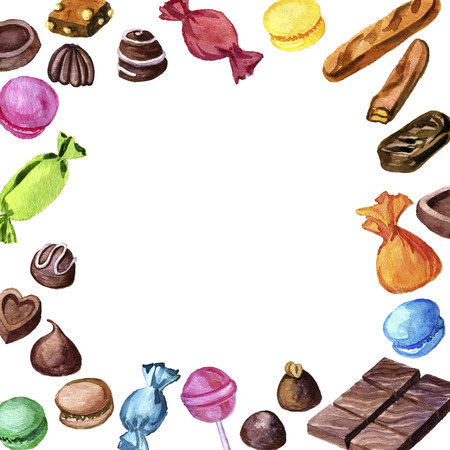 background with watercolor candies and chocolates, hand drawn illustration
