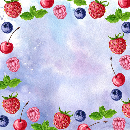 blue watercolor background with berries and mint leaves, strawberry and raspberry,cherry and blueberry,hand drawn illustration Stock Photo