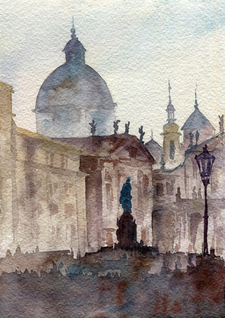 voyage: watercolor Prague landscape
