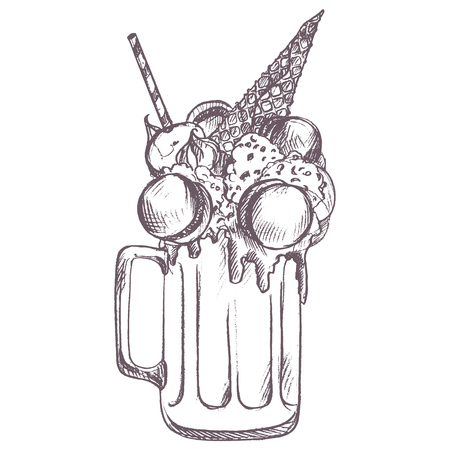 A vector sketch of milkshake drawing by blue pencil on white background.