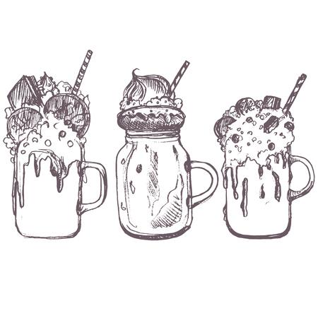 A vector sketch of milkshakes drawing by blue pencil on white background. Illusztráció