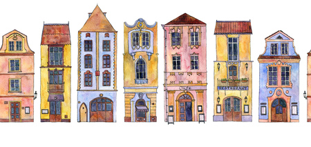seamless pattern with watercolor drawing houses Imagens