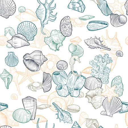 vector seamless pattern with seashells Vektoros illusztráció