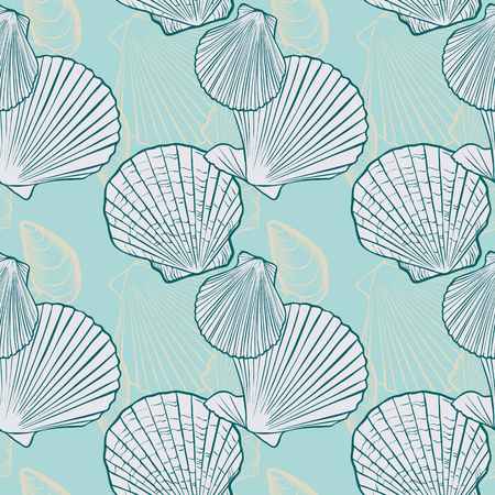 vector seamless pattern with seashells and starfish, hand drawn illustration, sea background