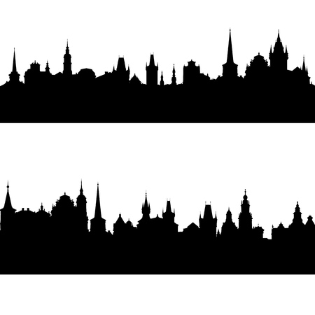 vector silhouettes of european city Фото со стока