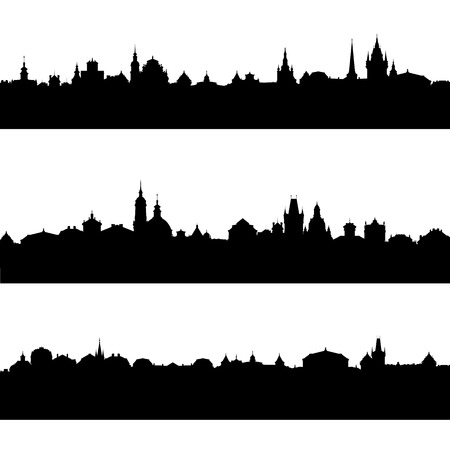 vector silhouettes of european city Stock Photo