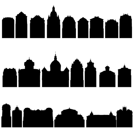 vector silhouettes of houses