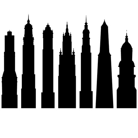 vector silhouettes of towers