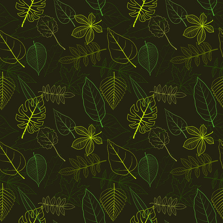 vector seamless pattern with leaves , hand drawn illustration
