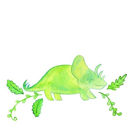 dinosaur and prehistoric plants, hand drawn cartoon illustration