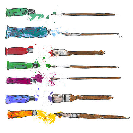 Art materials, line drawing set of squirrel,bristle and synthetic brushes for painting and calligraphy and paint tubes, hand drawn vector illustration