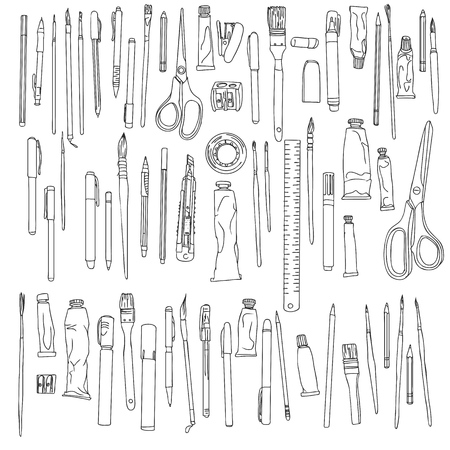 Hand drawn art or school materials illustration on white background.