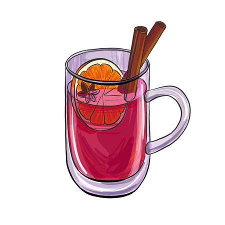 A cup with mulled wine, hand drawn vector illustration