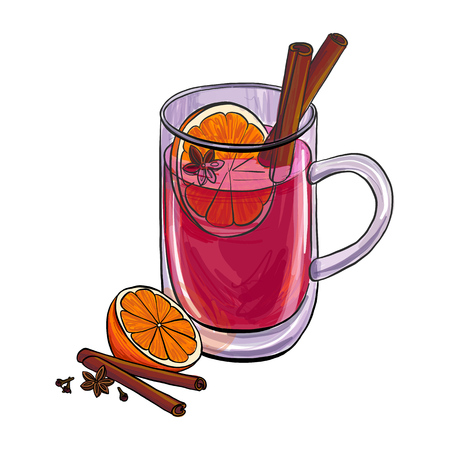 A cup with mulled wine and spice, hand drawn vector illustration
