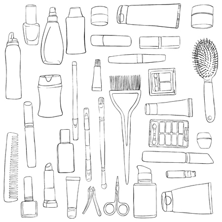 A vector set of cosmetics, perfumes and hygiene, hand drawn illustration