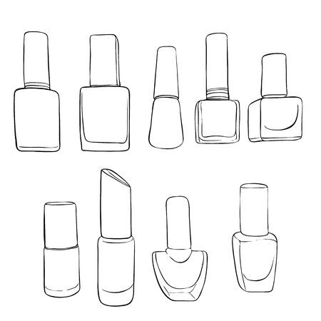 A vector bottles of nail polish, hand drawn illustration