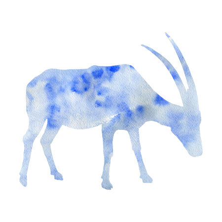 watercolor silhouette of antelope, hand drawn animal isolated at white background Stock Photo