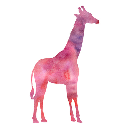 watercolor silhouette of giraffe, hand drawn animal isolated at white background