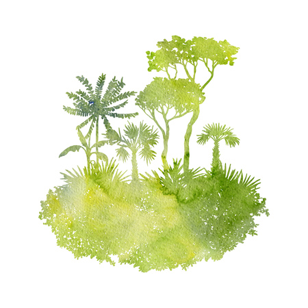 watercolor landscape with palm trees and grass, green foliage,abstract nature background, forest template, hand drawn illustration