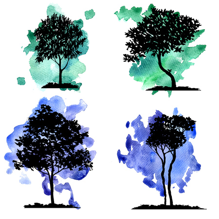 vector set of deciduous trees at watercolor background, hand drawn isolated natural elements Illustration