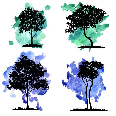 vector conjunto de árboles de hoja caduca en el fondo de acuarela, dibujado a mano elementos naturales aislados Ilustración de vector