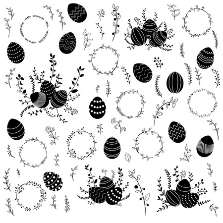 Vector  Easter eggs and floral elements. Illustration