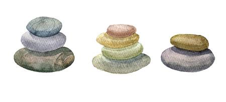 watercolor sea stones
