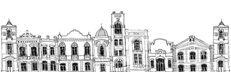 seamless pattern with different houses, background with line drawing mansions, sketch of buildings, urban border, city streets ornament
