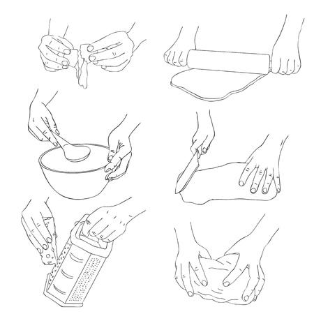 Vektorsatz des Kochens von Händen mit Teig-, Reiben- und Schüssel Federzeichnung