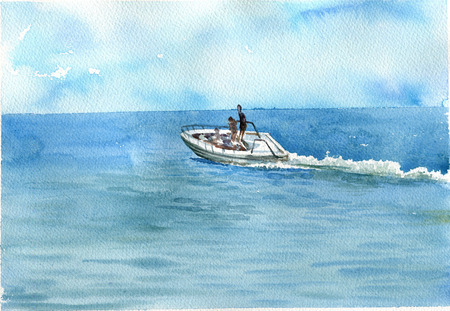 watercolor sea with boat Stock Photo