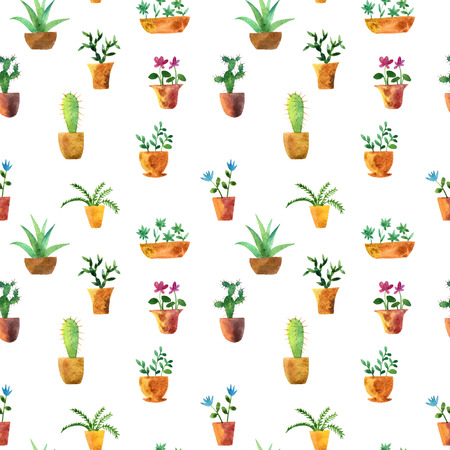 seamless pattern with watercolor drawing home plants