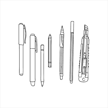Art materials, line drawing set of pens, pencils and paper knife. Hand drawn vector illustration. Ilustração