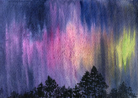 Watercolor aurora polaris Stock Photo