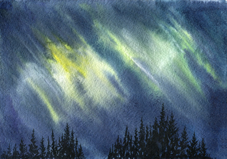 Watercolor aurora polaris Stock Photo